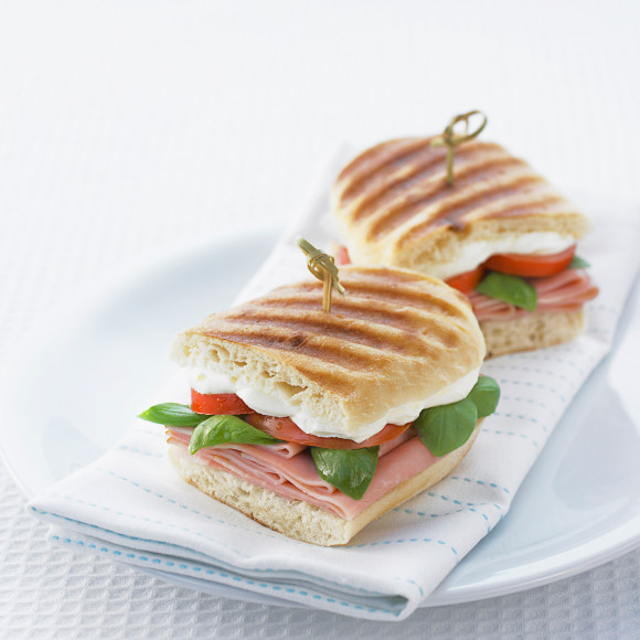 Ham, Tomato and Basil on Chargrilled Turkish Bread