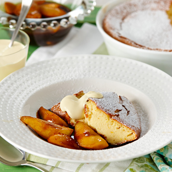Orange Spice Semolina Pudding with Pomegranate Pears