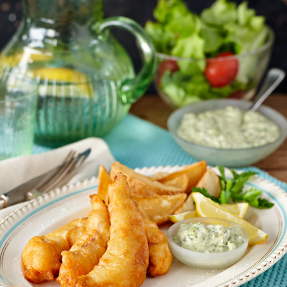 Beer battered fish and chips with pesto tartare recipe for Beer batter fish and chips