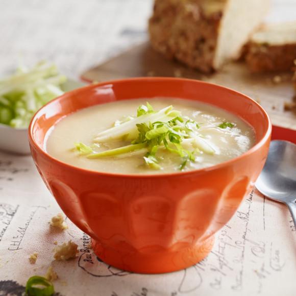 Celery Celeriac and Parsnip Soup with Cheesy Parsnip Cob