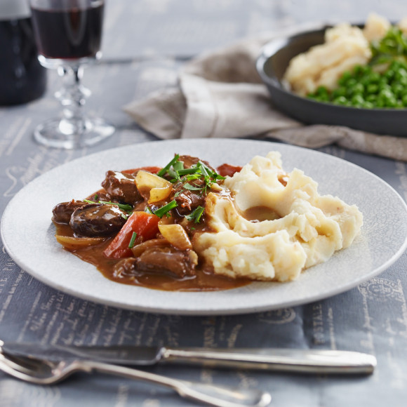 Braised Beef and Beer with White Bean Mash Recipe made with Vegemite