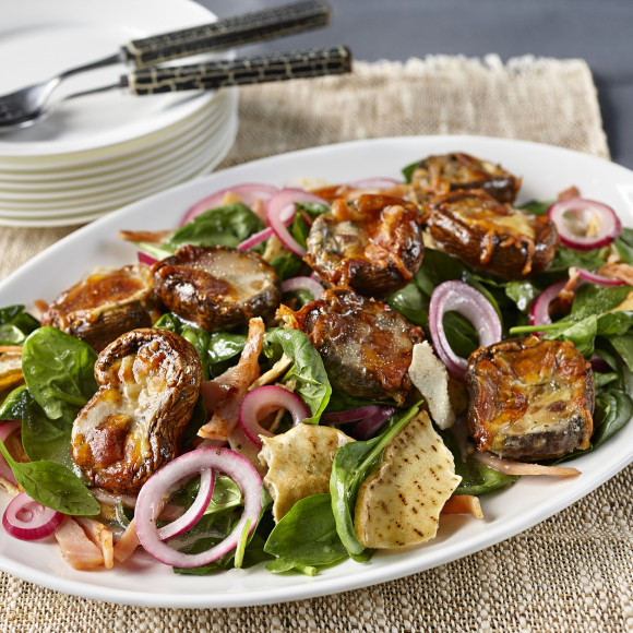 Spinach and Bacon Salad with Stuffed Mushrooms
