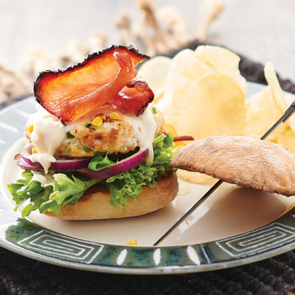 Chicken Burger with Maple Bacon
