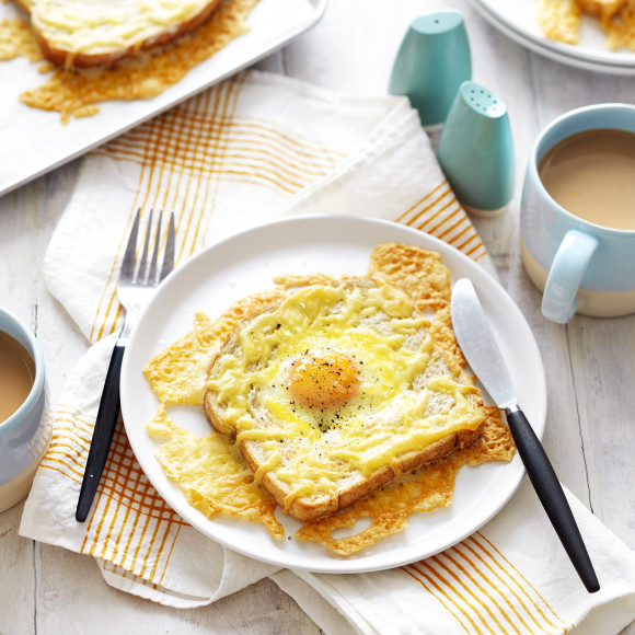 Baked Egg and Cheese Toasts