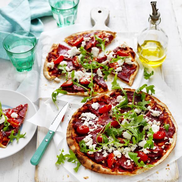 Salami Pizzas Recipe