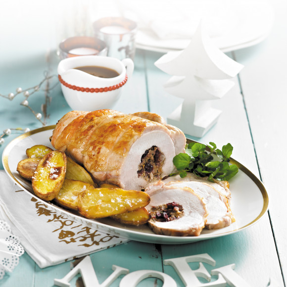 Oven Roasted Turkey Breast Christmas with Walnut and Cranberry Stuffing