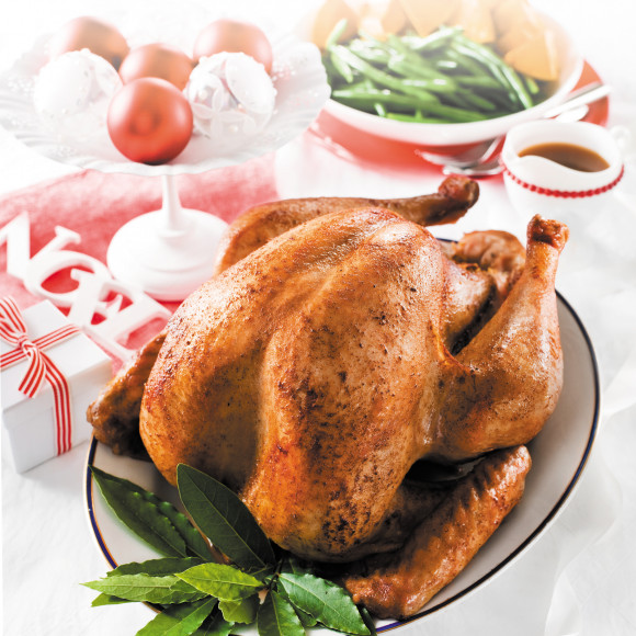 Christmas Turkey.Roast Turkey With Fig And Apricot Stuffing