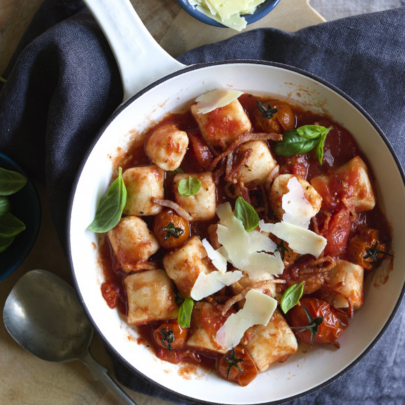 Ricotta Gnocchi with Roast Tomato, Basil and Bacon