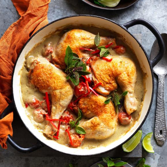 Green Thai curry roast chicken thighs