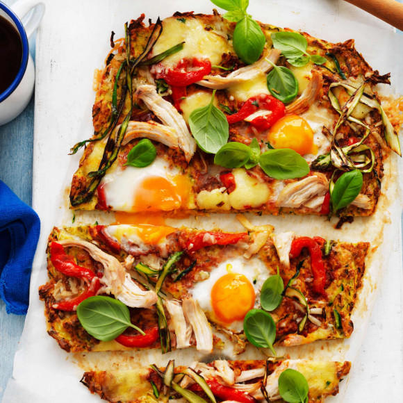 Heart healthy pizza with zucchini, eggs and herbs