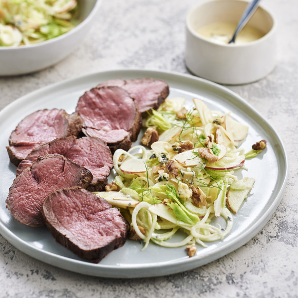 Roast Eye Fillet with Shaved Celery, Apple and Fennel Salad and Blue Cheese Dressing Recipe
