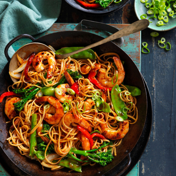 Honey soy prawns with noodles recipe