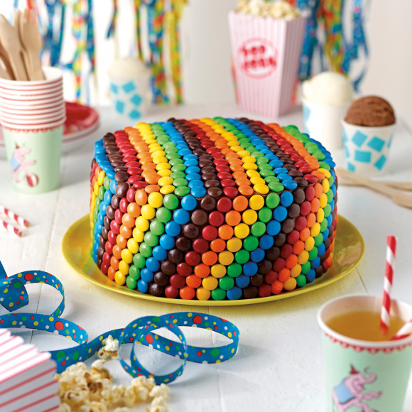 Rainbow Teacake With Vanilla Frosting And M Amp Ms Recipe