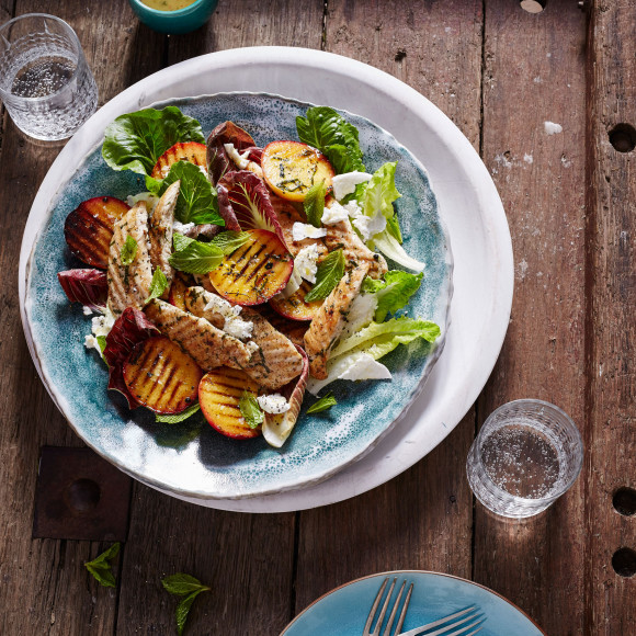 Grilled Peach and Lilydale Chicken Tenderloin Salad