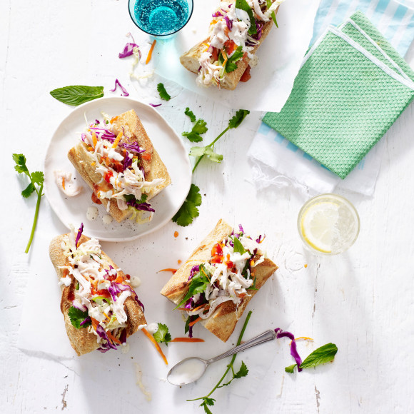 Chicken Breast with Asian Slaw Baguettes