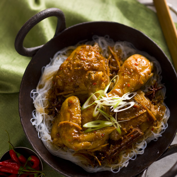 Asian Style Chicken Curry with Orange, Cinnamon, Star Anise and Sherry
