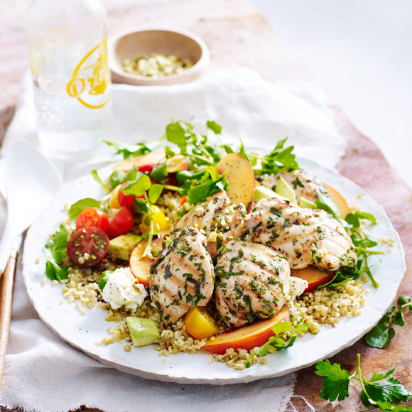 Chargrilled Herb Chicken with Freekeh and Peach Salad