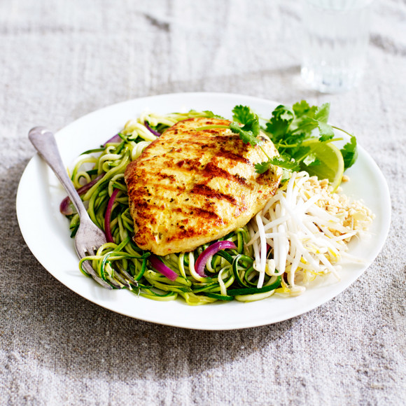 Lemongrass and ginger chicken with zucchini pad thai noodles recipe lemongrass and ginger chicken with zucchini pad thai noodles forumfinder Image collections