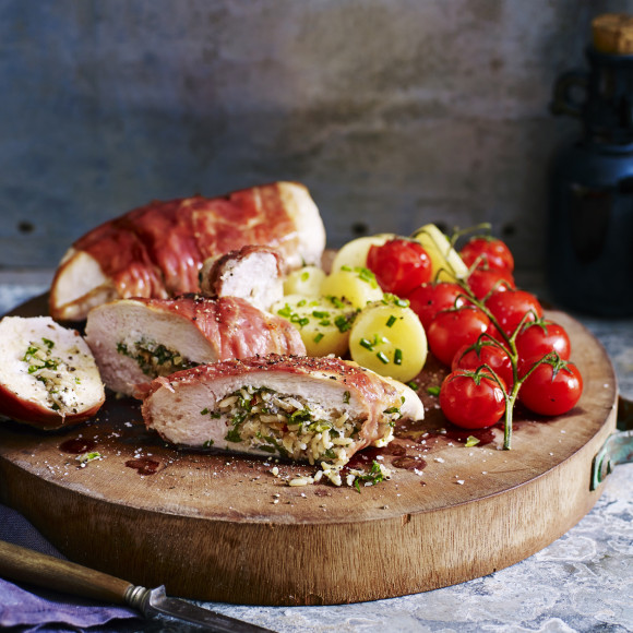 Prosciutto-Wrapped Chicken with Vine Tomatoes and Chat Potatoes