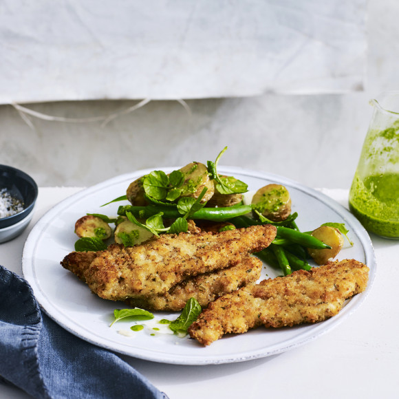 Chicken Breast Strips with Warm Potato and Watercress Pesto Salad