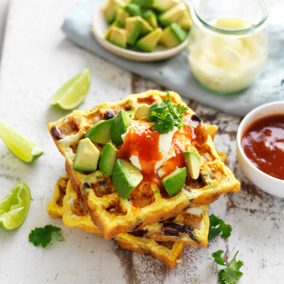 Easy Mexican omelette recipe made in a waffle maker