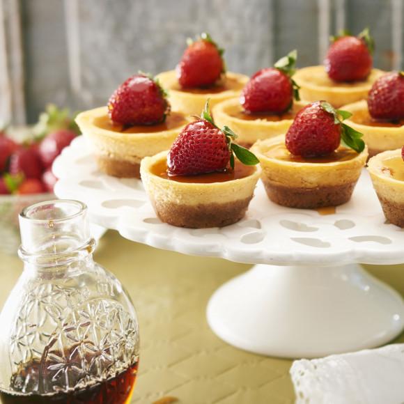 Mini Maple Cheesecake recipe with strawberries