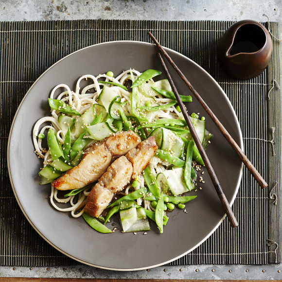 Miso-Marinated Kingfish Fillets with Noodles & Snow Pea Salad Recipe