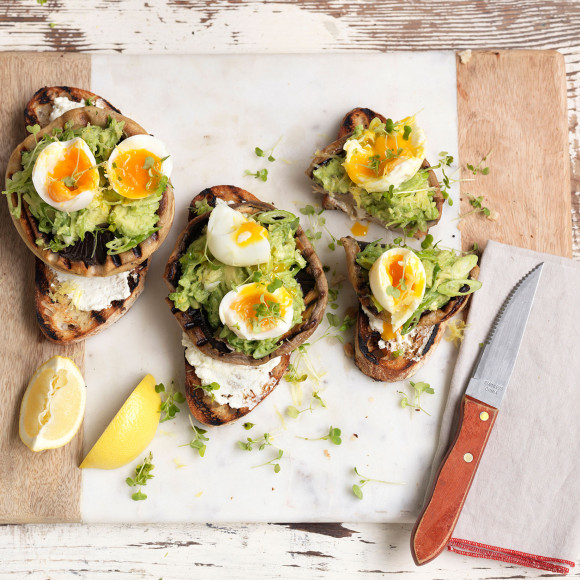 Grilled Mushroom Bruschetta with Avocado and Soft-Boiled Egg