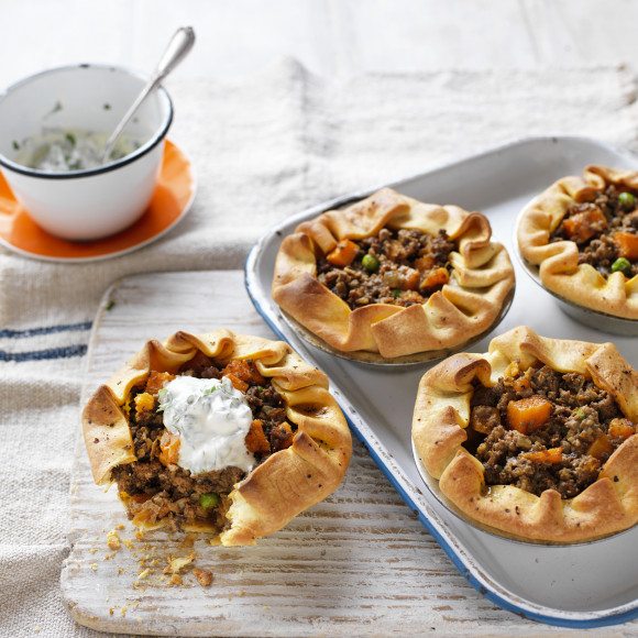 Curry Mushroom and Beef Pies