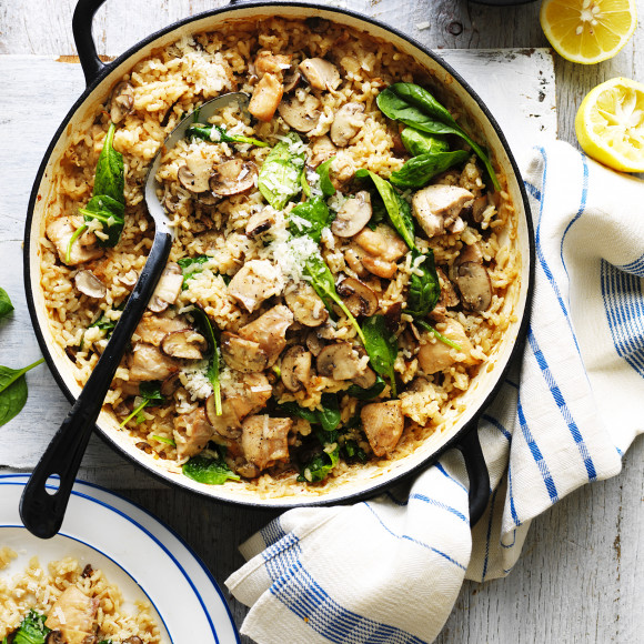 Oven Baked Chicken and Mushroom Risotto Recipe