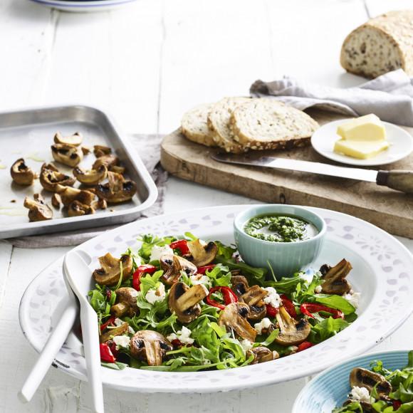 Warm Roasted Mushroom and Almond Pesto Salad