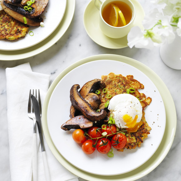 Zucchini Fritters with Portabella Mushrooms and Poached Egg
