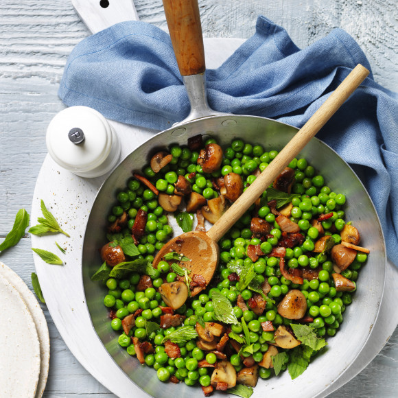 Bacon, Peas and Mushrooms