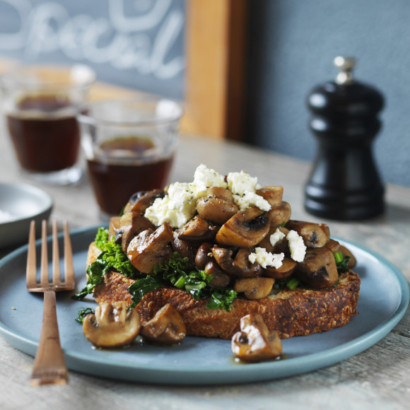 Mushrooms and Wilted Greens on Sourdough