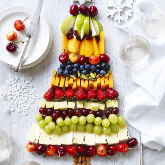 Fruit and Cheese Platter Christmas Tree