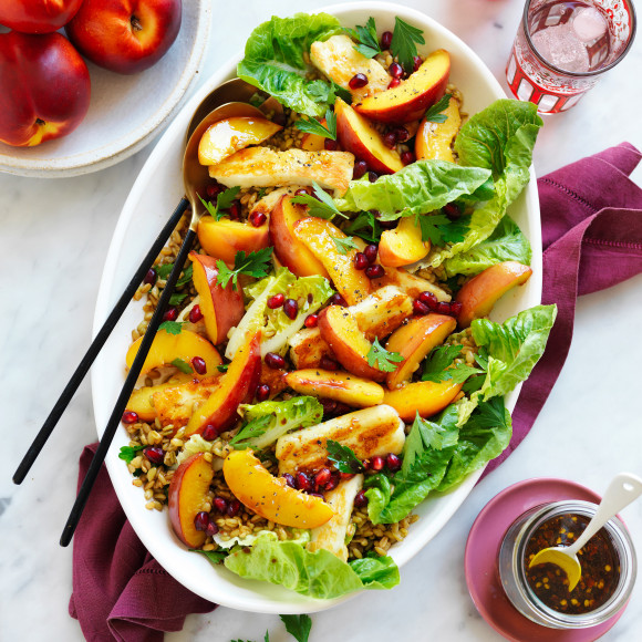 Middle Eastern Style Nectarine Haloumi And Freekeh Salad Recipe Myfoodbook Haloumi Salad Recipe