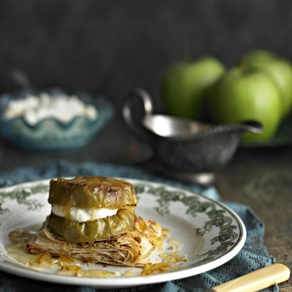 Baked Apples on Filo with Orange Pine nuts and Whipped Ricotta