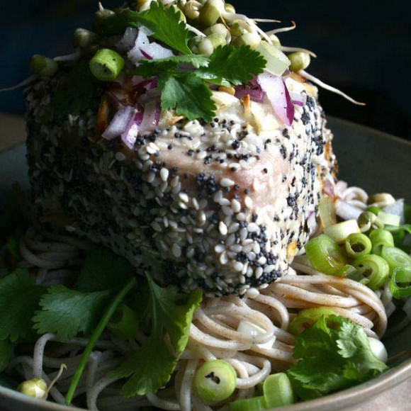Poppy and Sesame Seed Tuna with Soba Noodles