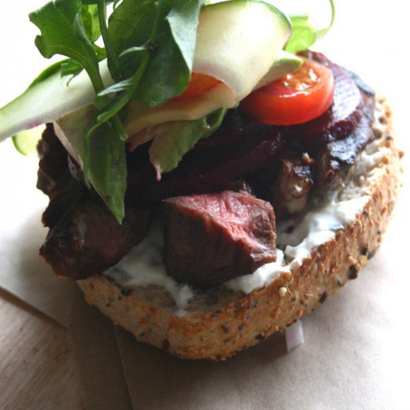 Ribboned Zucchini and Mixed Tomato, Paprika Open Steak Sandwich