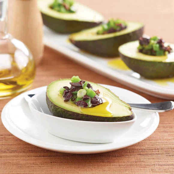 Avocado entree recipe idea with Black Olives