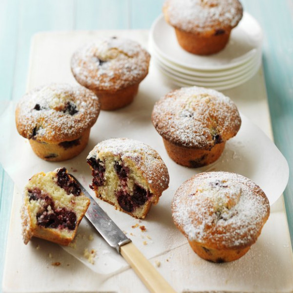 Cherry, sour cream & coconut muffins