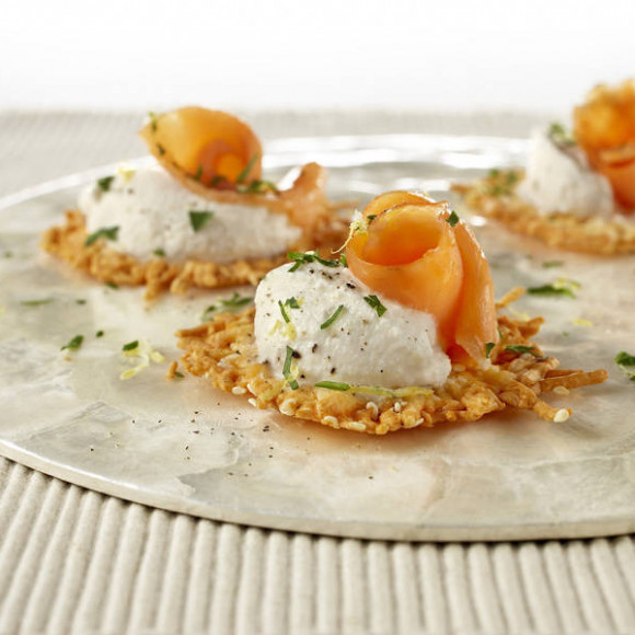 Parmesan Crisps with Smoked Salmon