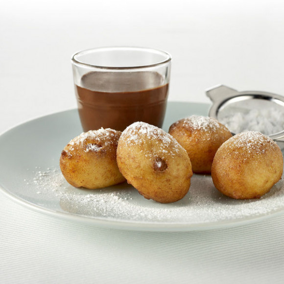 Orange and Ricotta Fritelle with Italian Hot Chocolate
