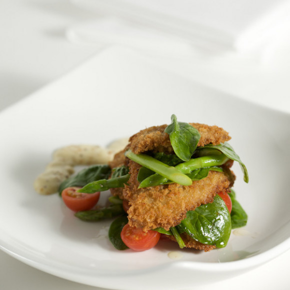 Pan fried Parmesan Veal with Asparagus
