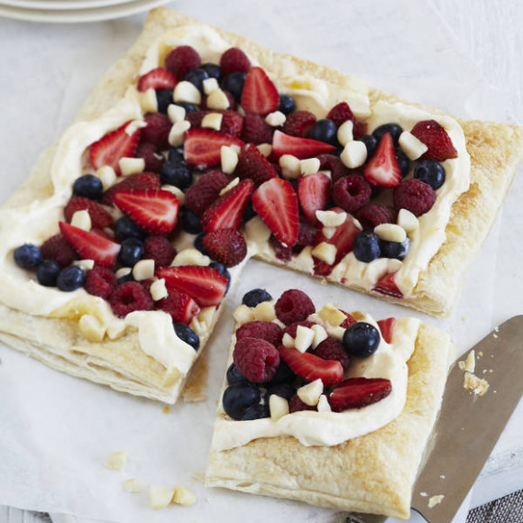 Lemon Cream and Berry Tart with Macadamias
