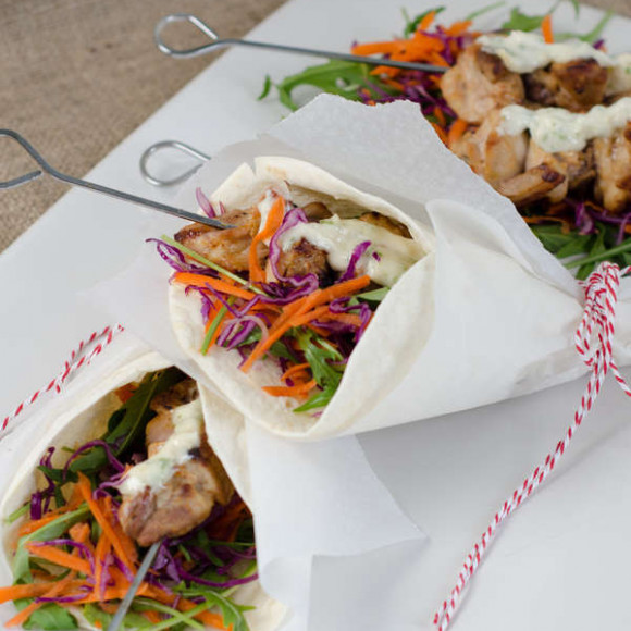 Chicken Skewer and Salad Wrap