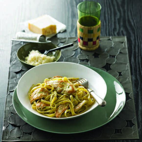 Cornfed Chicken Fettucini with Creamy Pesto Sauce