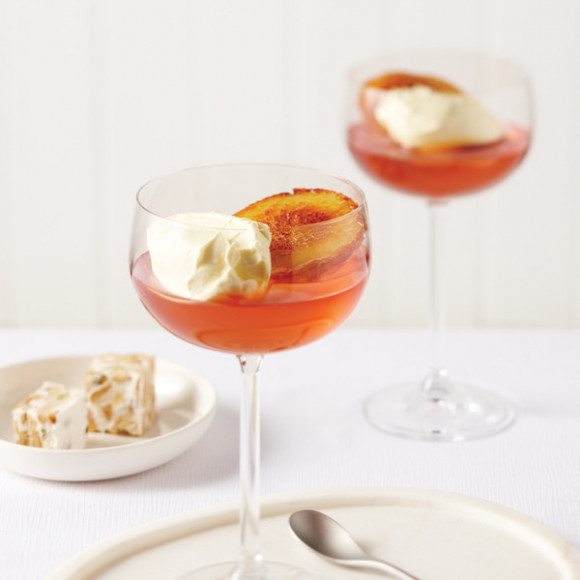 Caramelised Peach with Sparkling Jelly and Double Cream Gippsland Dairy Pure Double Cream