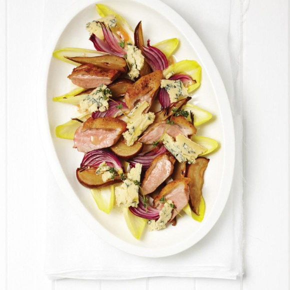 Warm Duck, Honeyed Pear and Blue Salad