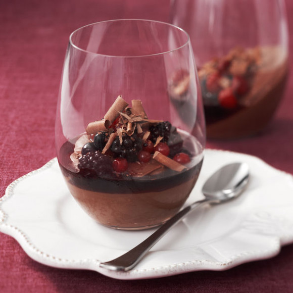 Silken Chocolate Pots with Shiraz Syrup